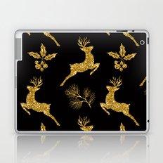 Christmas gold pattern on a black background. Laptop & iPad Skin