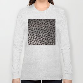 Silver Glitter With Black Squiggles Pattern Long Sleeve T-shirt