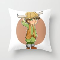 hiccup Throw Pillows featuring chibi hiccup by theginga15