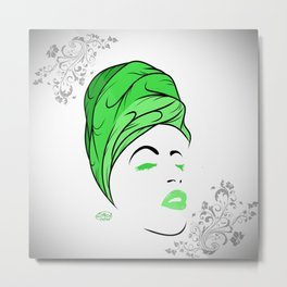 Lady Wrap (green) Metal Print