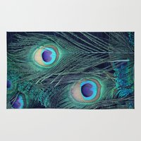 peacock Area & Throw Rugs featuring Peacock by KunstFabrik_StaticMovement Manu Jobst