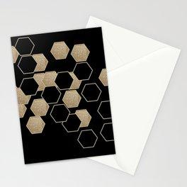 contemporary preppy scandinavian minimalist Black and gold hexagon Stationery Cards