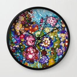 Alcohol Ink Floral Print Wall Clock
