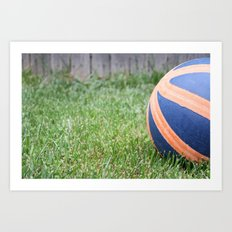Basketball on Grass Art Print