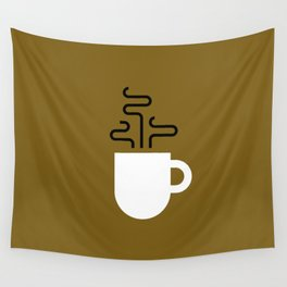 Coffee Cup Gold Wall Tapestry