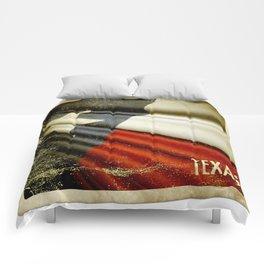 Grunge sticker of Texas (USA) flag Comforters