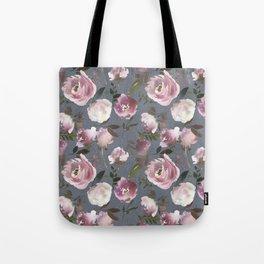 Scattered Vintage Soft Pink Blossom on Elegant Gray  Tote Bag