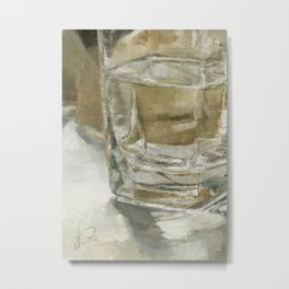 Glass of Water Half Full Reflections of Light Metal Print