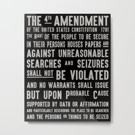 The Fourth Amendment of The Constitution Subway Art Metal Print