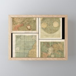 Vintage Map Print - 1756 set of 4 maps by Jean Fabien Gautier d'Agoty Framed Mini Art Print