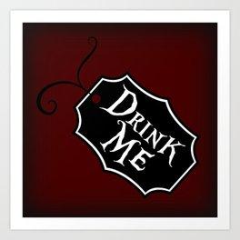 """Drink Me"" Alice in Wonderland styled Bottle Tag Design in 'Tulgey Wood Brown' Art Print"