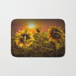 Sunflowers facing the Sunset Bath Mat