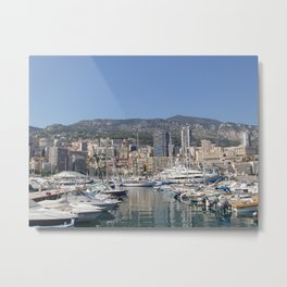 Monte Carlo, Monaco Harbor and Maritime Alps Metal Print