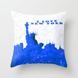 I LOVE NEW YORK With Blue Banner Throw Pillow
