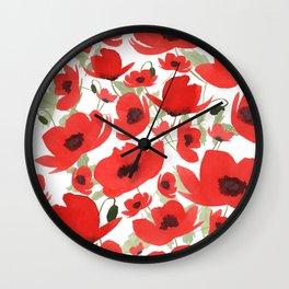 Watercolor Poppies Pattern Wall Clock