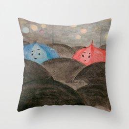 The Blue Umbrella Throw Pillow
