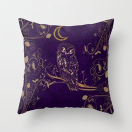 Golden Owl Crescent Moon Throw Pillow