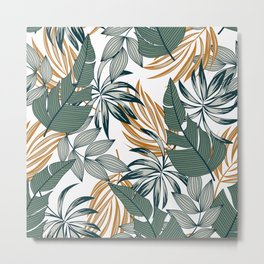 Abstract seamless tropical pattern with bright plants and leaves on a white background. Exotic tropics. Summer. Vector design. Jungle print. Floral background. Summer colorful hawaiian. Metal Print