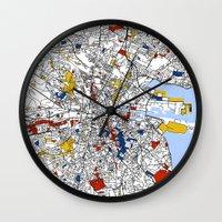 dublin Wall Clocks featuring Dublin mondrian by Mondrian Maps