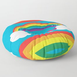 Unicorn Rainbow in the Sky Floor Pillow