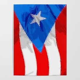 Puerto Rico Fancy Flag Poster