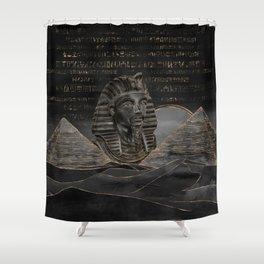Tutankhamun on Egyptian pyramids landscape Shower Curtain