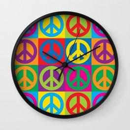 Pop Art Peace Symbols Wall Clock