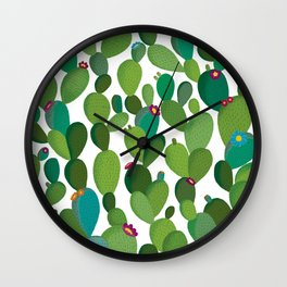 Cactus with flowers Wall Clock