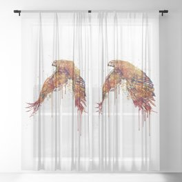 Flying Hawk Watercolor Painting Sheer Curtain