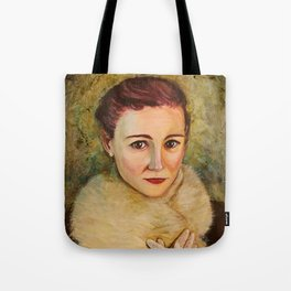 Woman in fur and lace gloves Tote Bag