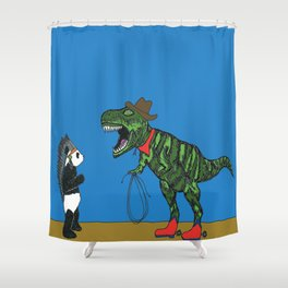 Dinosaur and panda play cowboys and Indians Shower Curtain