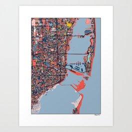 Miami Florida Abstract Map Art Art Print