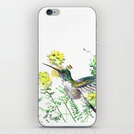 mmingbird design green yew Hummingbird and Yellow Flowers iPhone Skin