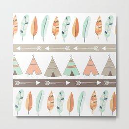 Tribal - Mint/Coral Metal Print