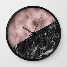 Black campari marble with lilac rosy gold Wall Clock