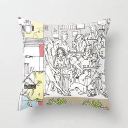 Coffee Scene Throw Pillow