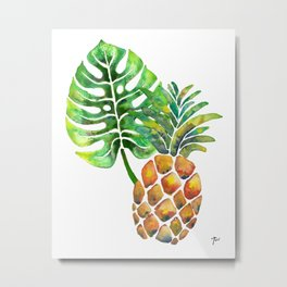 Monstera Pineapple Metal Print