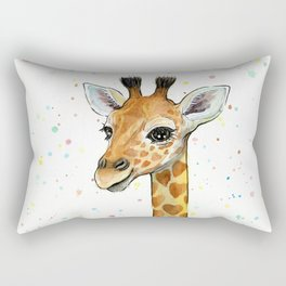 Baby-Giraffe-Nursery-Print-Watercolor-Animal-Portrait-Hearts Rectangular Pillow