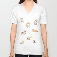 corgi V-neck T-shirts featuring Corgi by okayleigh