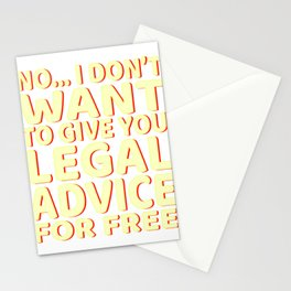 """Lawyer Free Legal Advice"" tee for all the bar passers and law abiding personnel like you do! Stationery Cards"