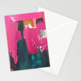 Abstract pink blue gold, sunset pink ocean beach Stationery Cards