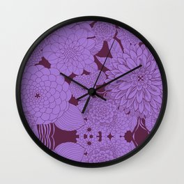 Maroon Sketch Wall Clock
