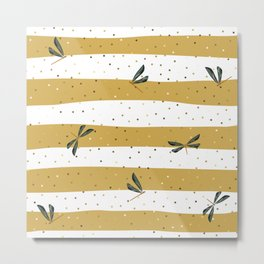 Dragonfly Christmas seamless pattern and Gold Confetti on Gold and White Stripes Background Metal Print