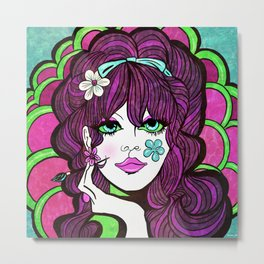 Psychedelic Flower Child Metal Print