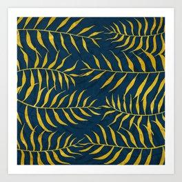 Golden Palm tree blue Art Print