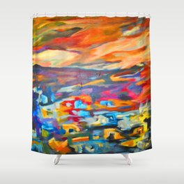 My Village | Colorful Small Mountainy Village Shower Curtain