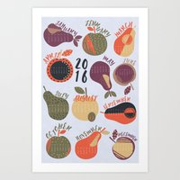 calendar Art Prints featuring 2016 Calendar by Mel Armstrong