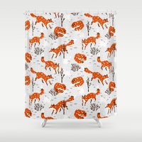 foxes Shower Curtains featuring Foxes by Paper Bicycle