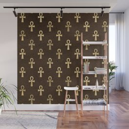 Brown & Gold Ancient Egyptian Ankh Symbol Of Life Pattern Wall Mural