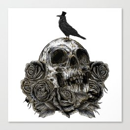 Skull and Crow Canvas Print